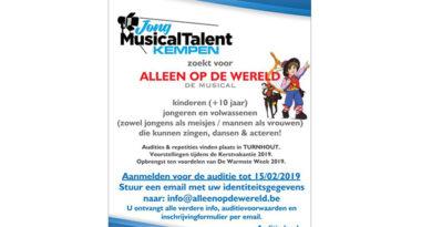 Jong MusicalTalent houdt audities voor Alleen op de wereld